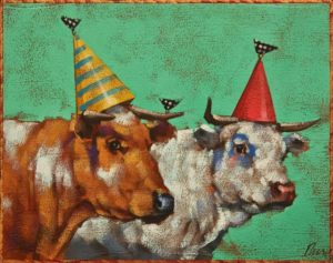"""SOLD """"A Celebratory Moood"""" by Angie Rees 8 x 10 - acrylic $575 (unframed panel with 1 1/2"""" edges)"""