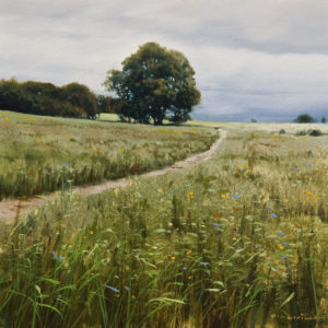 """SOLD """"Chestnut and Spring Grass"""" by Renato Muccillo 6 x 6 - oil $1300 in show frame"""