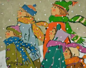 """SOLD """"Children with Scarves"""" by Claudette Castonguay 8 x 10 - acrylic $340 Unframed"""