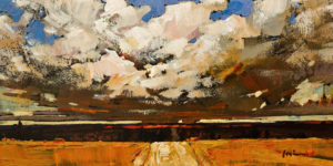 "SOLD ""Clouds Overhead"" by Min Ma 4 x 8 – acrylic $550 Unframed"