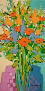 """SOLD """"Colours of the Last Season"""" by Claudette Castonguay 6 x 12 - acrylic $310 Unframed $410 in show frame"""