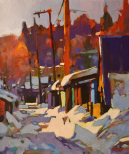 """SOLD """"Early Snow, Princeton, B.C."""" by Mike Svob 10 x 12 - acrylic $850 Unframed $1090 in show frame"""