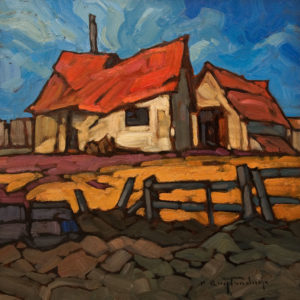 """SOLD """"Feed Lot Memories"""" by Phil Buytendorp 10 x 10 - oil $645 Unframed $875 in show frame"""