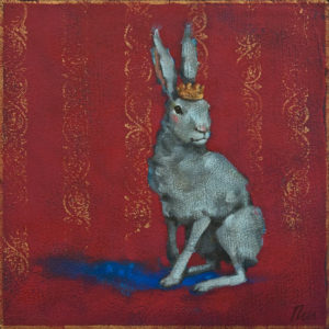 """SOLD """"Hare to the Throne"""" by Angie Rees 8 x 8 - acrylic $425 (unframed panel with 1 1/2"""" edges)"""