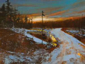 """SOLD """"Hunting Trail"""" by David Lidbetter 6 x 8 - oil $600 Unframed $770 in show frame"""
