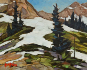 """SOLD """"Last of the Snow"""" by Graeme Shaw 8 x 10 - oil $510 Unframed $715 in show frame"""