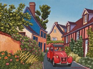 """SOLD """"A Leisurely Drive in a Small French Town"""" by Michael Stockdale 9 x 12 - acrylic $475 Unframed $590 in show frame"""