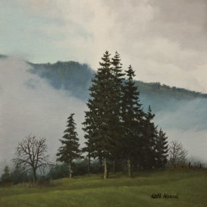 """SOLD """"Morning Fog, Mt. Prevost,"""" by Keith Hiscock 8 x 8 - oil $775 Unframed"""