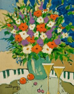"""SOLD """"Music, Flowers and Aperitif"""" by Claudette Castonguay 8 x 10 - acrylic $340 Unframed $440 in show frame"""