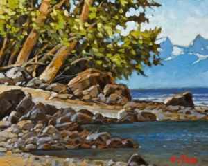 """SOLD """"North Shore Beaches"""" by Graeme Shaw 8 x 10 - oil $510 Unframed $715 in show frame"""