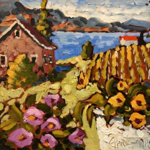 """SOLD """"Okanagan Colours"""" by Rod Charlesworth 6 x 6 - oil $475 Unframed $560 in show frame"""