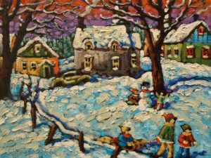 """SOLD """"On a Frosty Night"""" by Rod Charlesworth 9 x 12 - oil $905 Unframed"""