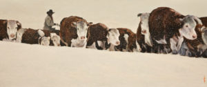 """SOLD """"Over the Ridge,"""" by Alan Wylie 10 x 24 - oil $2800 Unframed"""