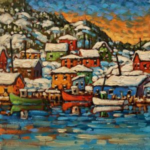 """SOLD """"Petty Harbour Patterns"""" by Rod Charlesworth 10 x 10 - oil $830 Unframed $1075 in show frame"""