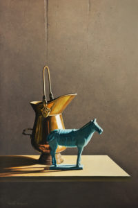 """SOLD """"Brass Pitcher with Blue Horse,"""" by Keith Hiscock 16 x 24 - oil $2850 Unframed"""