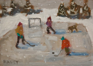 "SOLD ""Pond Hockey"" by Paul Healey 5 x 7 - oil $275 Unframed"