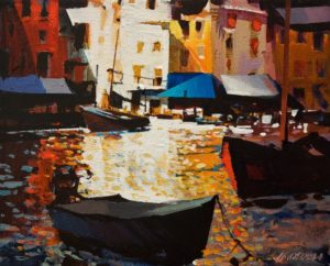 """SOLD """"Porto Venere Light and Shadow"""" by Michael O'Toole 8 x 10 - acrylic $615 Unframed $750 in show frame"""