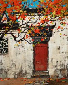 """SOLD """"Red Door"""" by Min Ma 8 x 10 - acrylic $845 Unframed $1100 in show frame"""