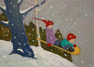 """SOLD """"Rocket Sled"""" by Paul Healey 5 x 7 - acrylic $275 Unframed $450 in show frame"""