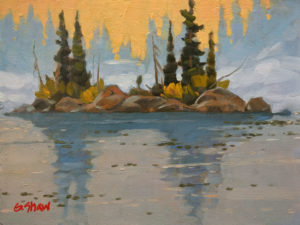 """SOLD """"Sailing Great Slave Lake, N.W.T."""" by Graeme Shaw 6 x 8 - oil $435 Unframed $600 in show frame"""