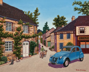 "SOLD ""A Small Village in Normandy,"" by Michael Stockdale 16 x 20 - acrylic $875 Unframed"