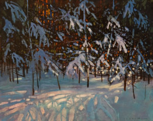 """SOLD """"Snow in the Woods"""" by David Lidbetter 8 x 10 - oil $900 Unframed $1090 in show frame"""