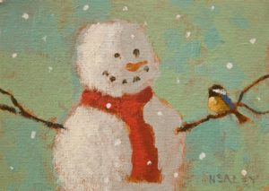 """SOLD """"The Snowman"""" by Paul Healey 5 x 7 - acrylic $275 Unframed $450 in show frame"""