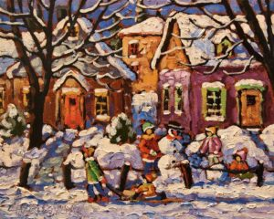 """SOLD """"Snow Shadows"""" by Rod Charlesworth 8 x 10 - oil $750 Unframed $965 in show frame"""