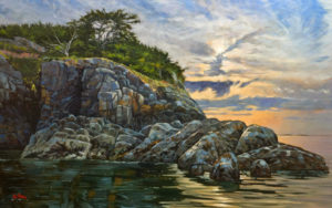 """SOLD """"South Winchelsea Island,"""" by Graeme Shaw 30 x 48 - oil $4225 as thick canvas wrap without frame"""
