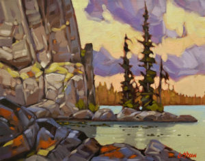 """SOLD """"Stagg Lake Cove"""" by Graeme Shaw 11 x 14 - oil $700 Unframed $960 in show frame"""