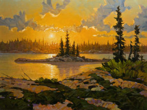 """SOLD """"Sundown Solitude,"""" by Graeme Shaw 30 x 40 - oil $3700 as thick canvas wrap without frame"""