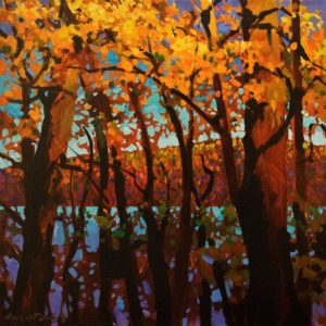 """SOLD """"Twilight Time, Peachland"""" by Michael O'Toole 12 x 12 - acrylic $910 Unframed $1175 in show frame"""