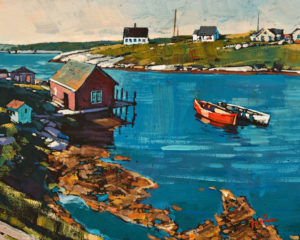 "SOLD ""The Village, Nova Scotia"" by Min Ma 8 x 10 – acrylic $845 Unframed"