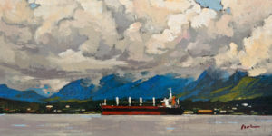"""SOLD """"West Coast Vancouver"""" by Min Ma 4 x 8 - acrylic $550 Unframed $740 in show frame"""