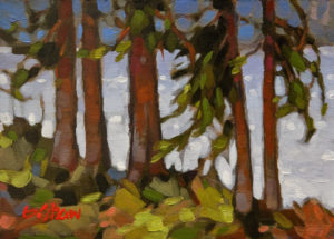 """SOLD """"West Side Shore, Tofino"""" 5 x 7 - oil $410 Unframed $570 in show frame"""