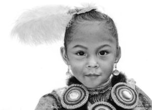 """SOLD """"Yakama Girl"""" by Jim Nedelak 6 x 9 - charcoal drawing $1200 in show frame"""
