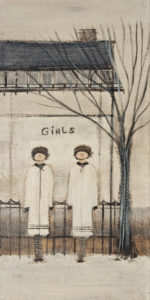 """SOLD """"Girls,"""" by Louise Lauzon 6 x 12 - acrylic $330 Unframed"""