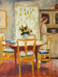 "SOLD ""In the Cottage Kitchen,"" by Paul Healey 12 x 16 - oil $700 Unframed"