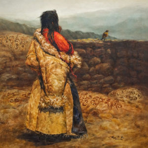 """""""A Distant Message"""" (circa 2001), by Donna Zhang 30 x 30 - oil $7670 Custom framed"""
