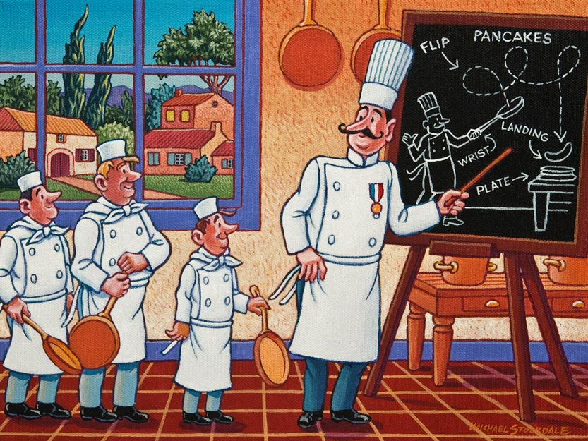 """Chef Maurice Cooking School - Technique,"" by Michael Stockdale 9 x 12 - acrylic $500 Unframed"