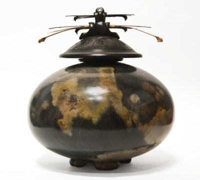 """Vase (220) by Geoff Searle pit-fired pottery - 12"""" (H) x 10"""" (W) $750"""
