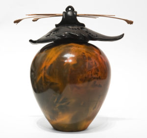 """SOLD Vase (225) by Geoff Searle pit-fired pottery - 9 1/2"""" (H) x 9"""" (W) $475"""
