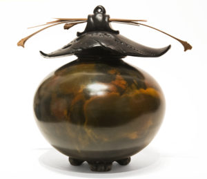 """SOLD Vase (226) by Geoff Searle pit-fired pottery - 8 1/2"""" (H) x 9"""" (W) $475"""