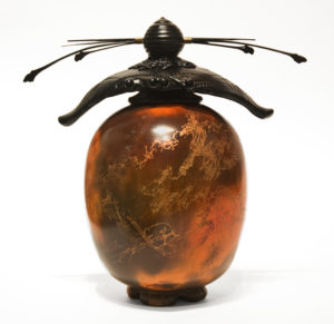 """SOLD Vase (230) by Geoff Searle pit-fired pottery - 8 1/2"""" (H) x 9"""" (W) $425"""