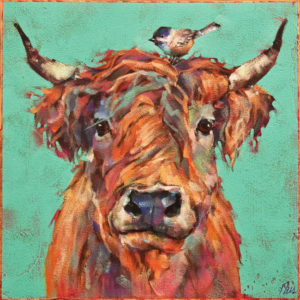 """SOLD """"Besties,"""" by Angie Rees 12 x 12 - acrylic $825 (unframed panel with 1 1/2"""" edges)"""