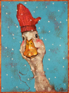 """SOLD """"Duck Decoy,"""" by Angie Rees 6 x 8 - acrylic $300 (unframed panel with 1 1/2"""" edges)"""