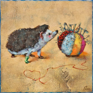 """SOLD """"Love at First Sight: Prickles,"""" by Angie Rees 8 x 8 - acrylic $425 (unframed panel with 1 1/2"""" edges)"""