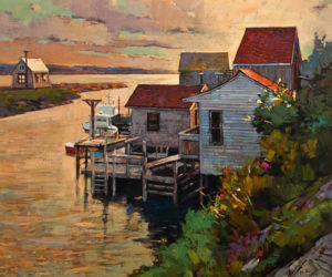 "SOLD ""Sunset at East Coast,"" by Min Ma 30 x 36 – acrylic $5100 Unframed"