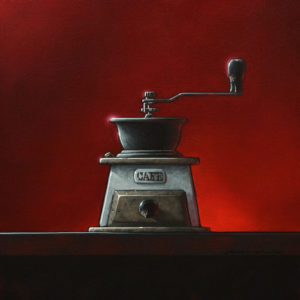 """SOLD """"Grind Control to Major Tom,"""" by Glen Melville 16 x 16 - acrylic and oil $875 (thick canvas wrap)"""