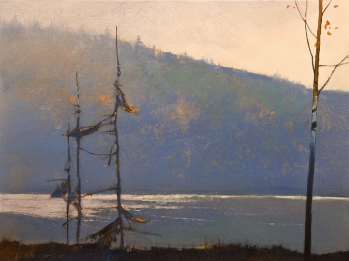 """SOLD """"Lac Fortune Morning,"""" by David Lidbetter 18 x 24 - oil $1800 (thick canvas wrap)"""